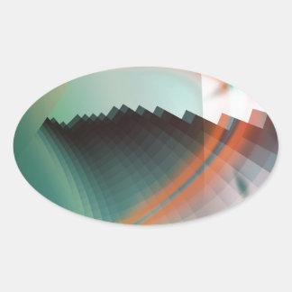 Símbolo abstracto fresco colorido pegatina ovalada