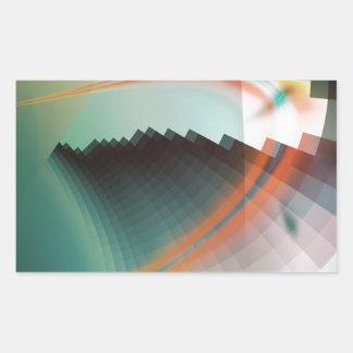 Símbolo abstracto fresco colorido pegatina rectangular