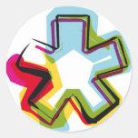 Símbolo abstracto y colorido * etiqueta redonda