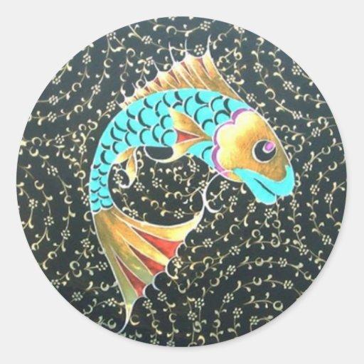Símbolo afortunado de la buena fortuna del amuleto etiqueta redonda