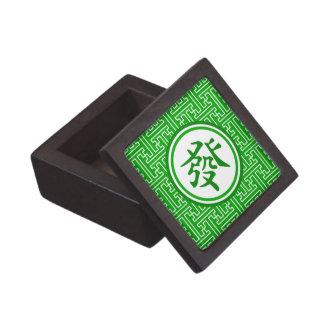 Símbolo afortunado de Mahjong • Verde oscuro Cajas De Regalo De Calidad