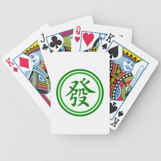 Símbolo afortunado de Mahjong • Verde y blanco Cartas De Juego