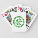 Símbolo afortunado de Mahjong • Verde y blanco Baraja Cartas De Poker