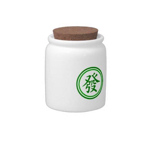 Símbolo afortunado de Mahjong • Verde y blanco Plato Para Caramelo