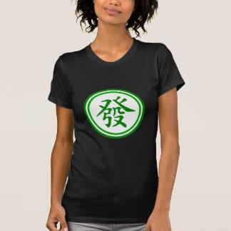 Símbolo afortunado de Mahjong • Verde y blanco Remera