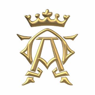 "Símbolo alfa y de Omega ""tridimensional"" de oro w/ Fotoescultura Vertical"