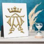 """Símbolo alfa y de Omega """"tridimensional"""" de oro w/ Placa De Madera"""