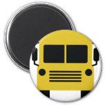símbolo amarillo del autobús escolar imán para frigorífico