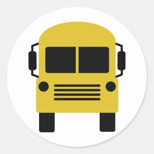 símbolo amarillo del autobús escolar etiquetas redondas