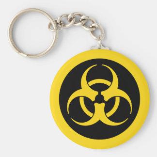 Símbolo amarillo del Biohazard Llavero Redondo Tipo Pin