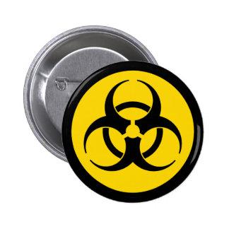 Símbolo amarillo del Biohazard Pin Redondo De 2 Pulgadas