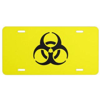 Símbolo amarillo del BioHazard Placa De Matrícula