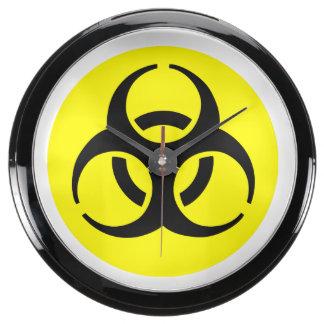 Símbolo amarillo del BioHazard Relojes Acuario