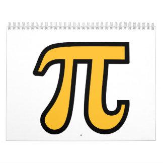 Símbolo amarillo del pi calendario de pared
