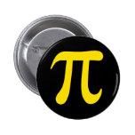 Símbolo amarillo del pi en el botón negro del pinb