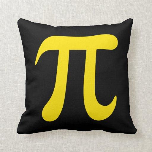 Símbolo amarillo del pi en fondo negro cojines