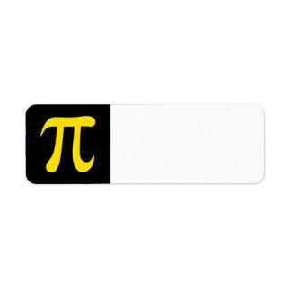 Símbolo amarillo del pi en fondo negro etiqueta de remite