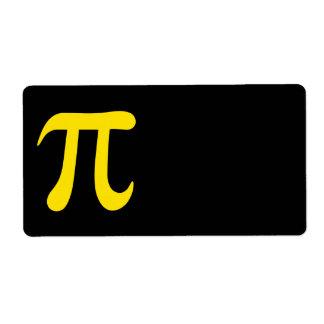 Símbolo amarillo del pi en fondo negro etiqueta de envío