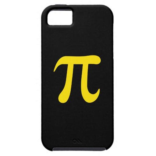 Símbolo amarillo del pi en fondo negro iPhone 5 protector