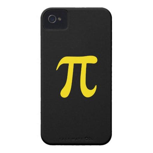Símbolo amarillo del pi en fondo negro iPhone 4 coberturas