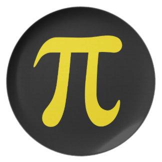 Símbolo amarillo del pi en fondo negro platos de comidas