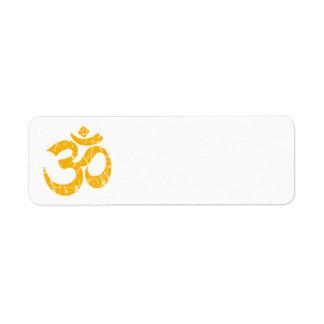 Símbolo amarillo rasguñado de OM de la yoga Etiqueta De Remite