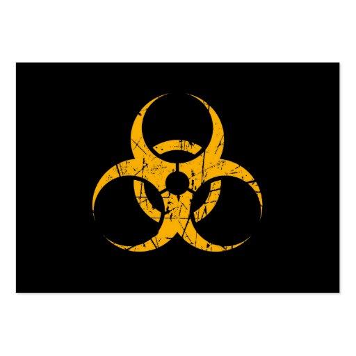 Símbolo amarillo rasguñado del Biohazard en negro Tarjeta Personal