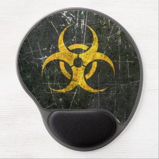 Símbolo amarillo rasguñado y llevado del Biohazard Alfombrillas De Raton Con Gel