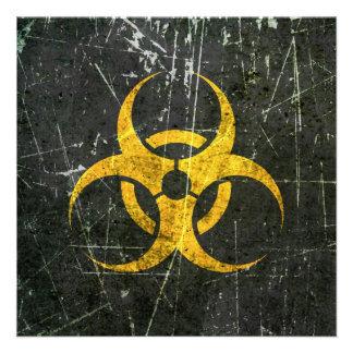 Símbolo amarillo rasguñado y llevado del Biohazard Anuncio Personalizado