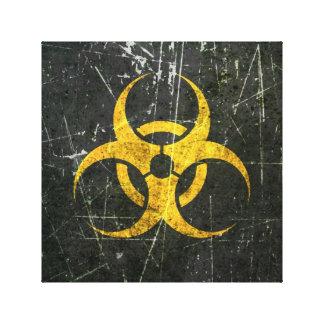 Símbolo amarillo rasguñado y llevado del Biohazard Lona Estirada Galerias