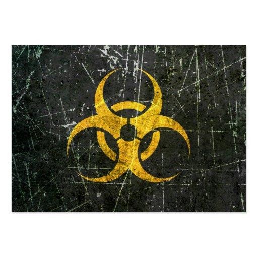 Símbolo amarillo rasguñado y llevado del Biohazard Tarjeta De Visita