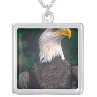 Símbolo americano de la libertad Eagle calvo en Colgante Cuadrado