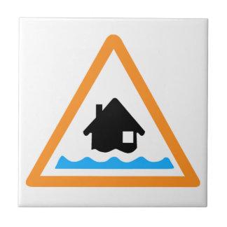 Símbolo amonestador de la inundación azulejo cuadrado pequeño