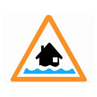 Símbolo amonestador de la inundación postales