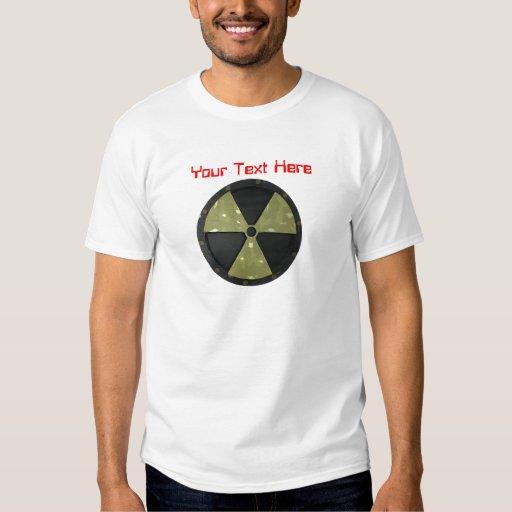 Símbolo amonestador radiactivo del texto adaptable camisas