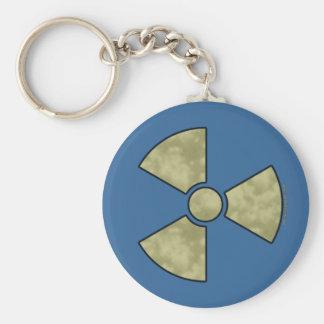 Símbolo amonestador radiactivo llavero redondo tipo pin