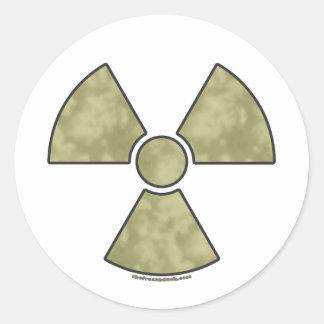 Símbolo amonestador radiactivo pegatina redonda