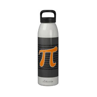 Símbolo anaranjado del pi botella de agua reutilizable