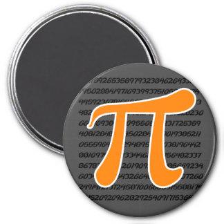 Símbolo anaranjado del pi imán de nevera