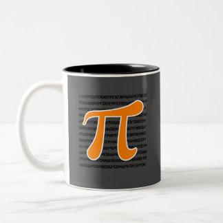 Símbolo anaranjado del pi taza de café de dos colores