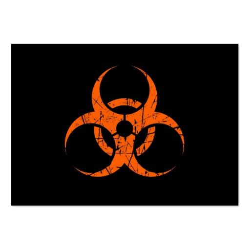 Símbolo anaranjado rasguñado del Biohazard en negr Tarjetas De Visita