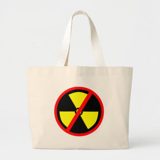 Símbolo anti no nuclear del arma nuclear bolsa tela grande