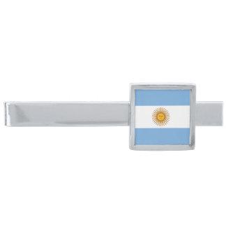 Símbolo argentino del orgullo del clip de lazo de alfiler de corbata plateado