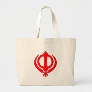 Símbolo/arte sikh bolsa de tela grande