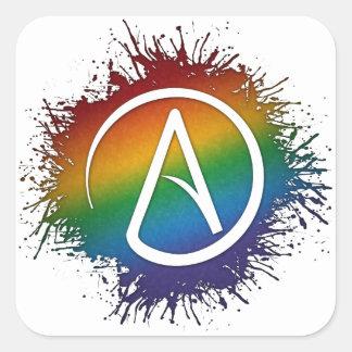 Símbolo ateo en colores del arco iris del orgullo pegatina cuadrada