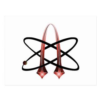 Símbolo ateo metálico rojo postal