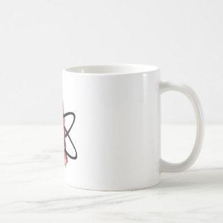 Símbolo ateo metálico rojo taza clásica