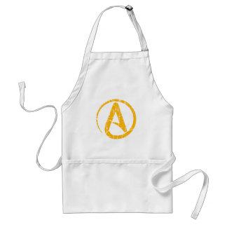Símbolo ateo rasguñado y llevado del amarillo del delantal