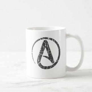 Símbolo ateo rasguñado y llevado del gris del ateí
