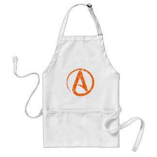 Símbolo ateo rasguñado y llevado del naranja del delantal